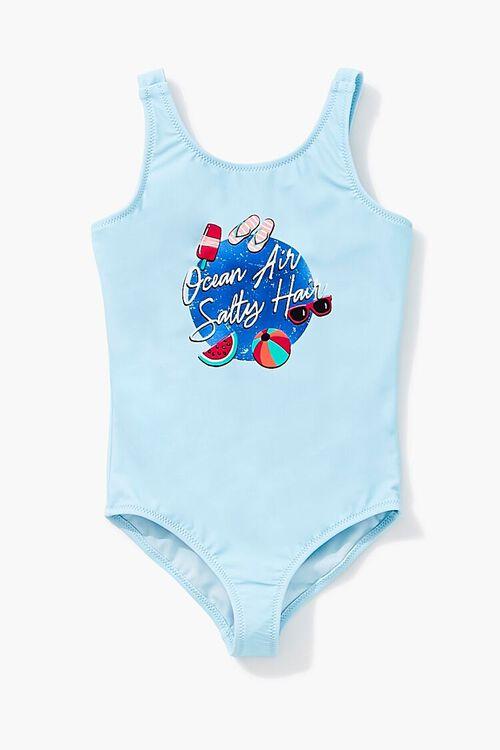 Girls Ocean Graphic One-Piece Swimsuit (Kids), image 1