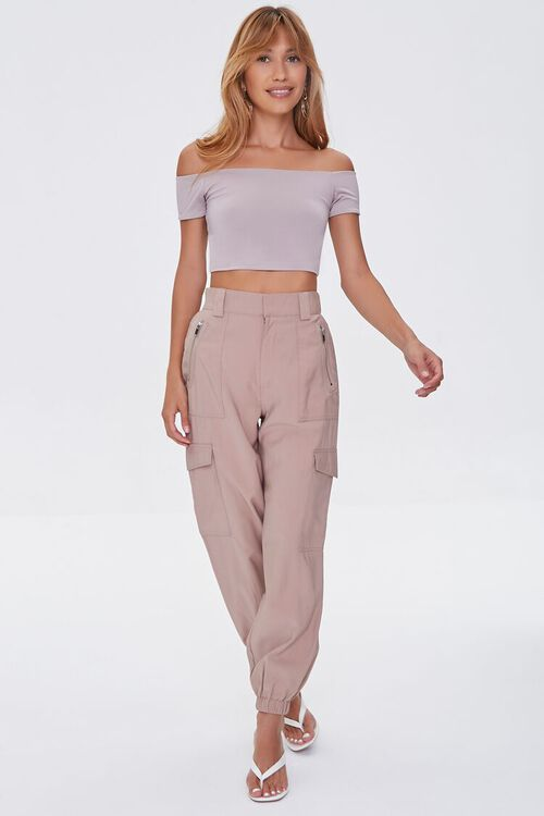TAUPE Off-the-Shoulder Crop Top, image 4