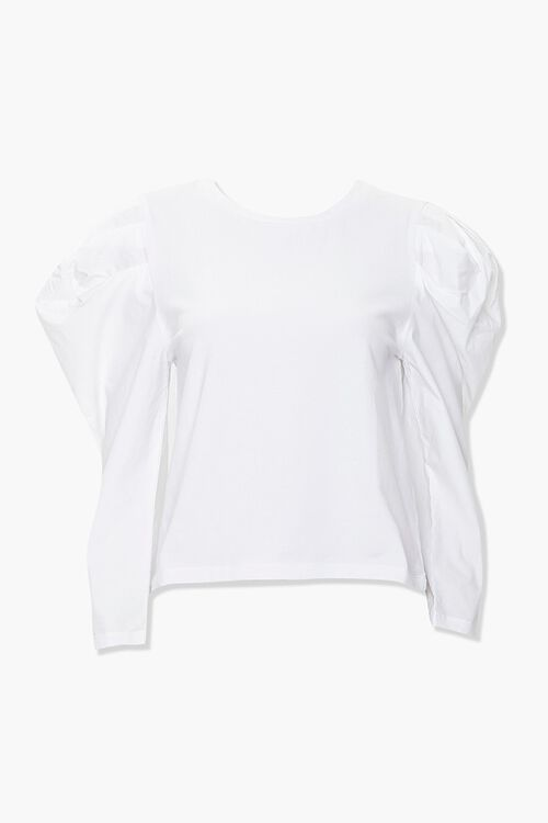 Cotton-Blend Puff-Sleeve Top, image 1