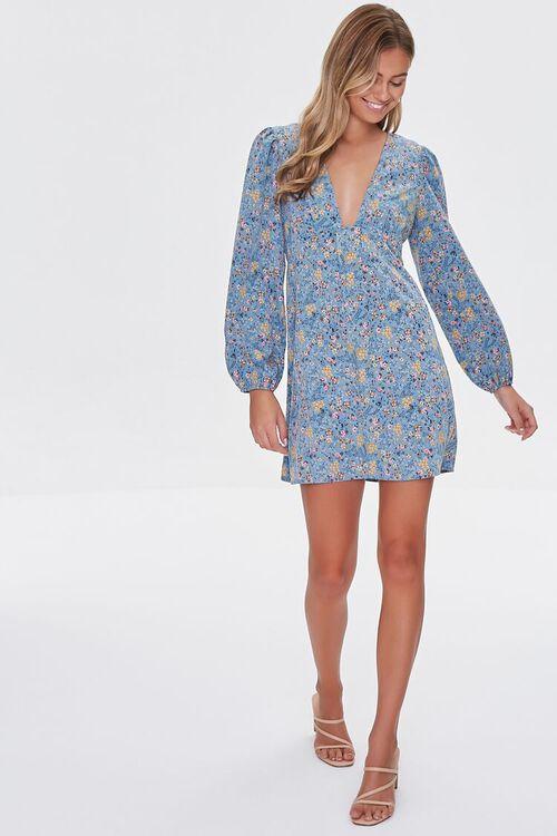 BLUE/MULTI Floral Print Mini Dress, image 4