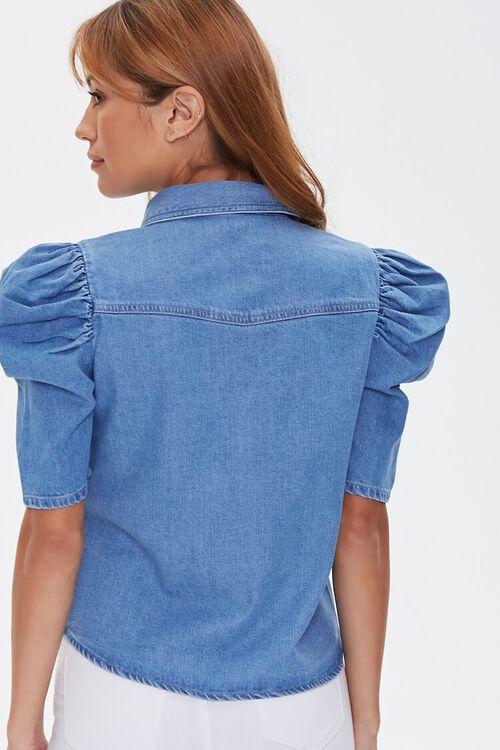 Puff-Sleeve Denim Shirt, image 3