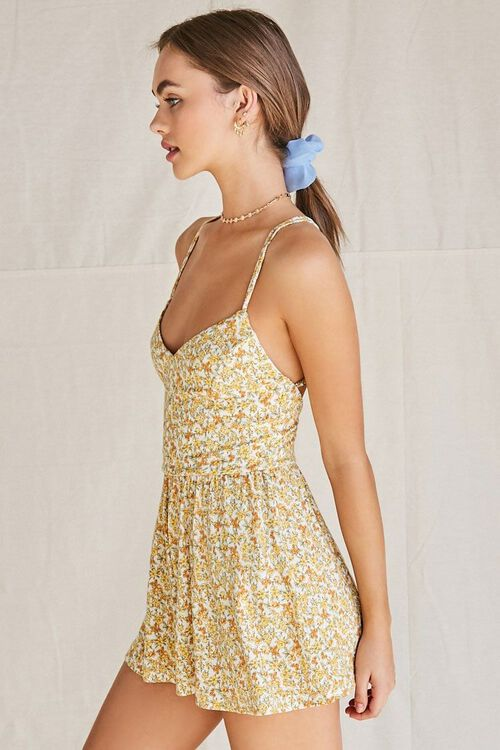 CREAM/YELLOW Floral Strappy-Back Romper, image 3