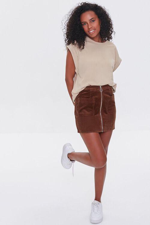 BROWN Corduroy Zip-Front Mini Skirt, image 5