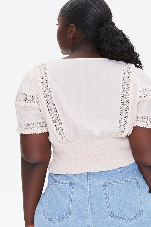 CHAMPAGNE Plus Size Pintucked Lace-Trim Top, image 3