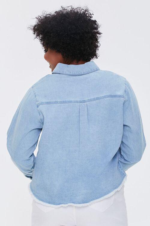 LIGHT DENIM Plus Size Frayed Denim Shirt, image 3