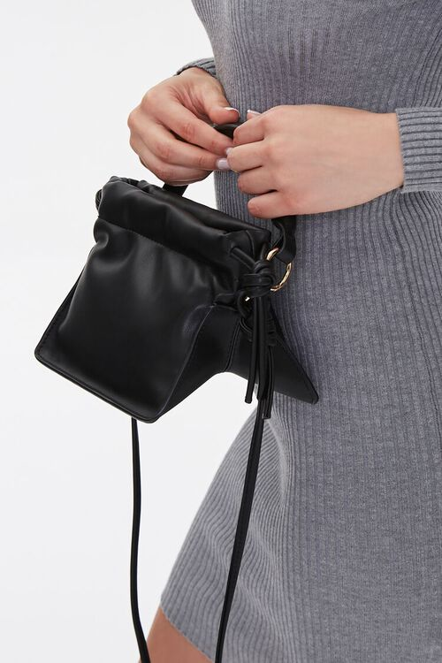 Faux Leather Open Top Crossbody Bag, image 2