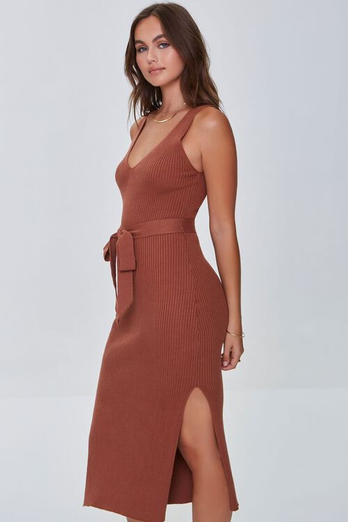 CHOCOLATE Belted Ribbed Bodycon Dress, image 2