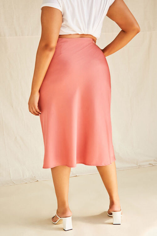 Plus Size Satin Midi Skirt, image 3