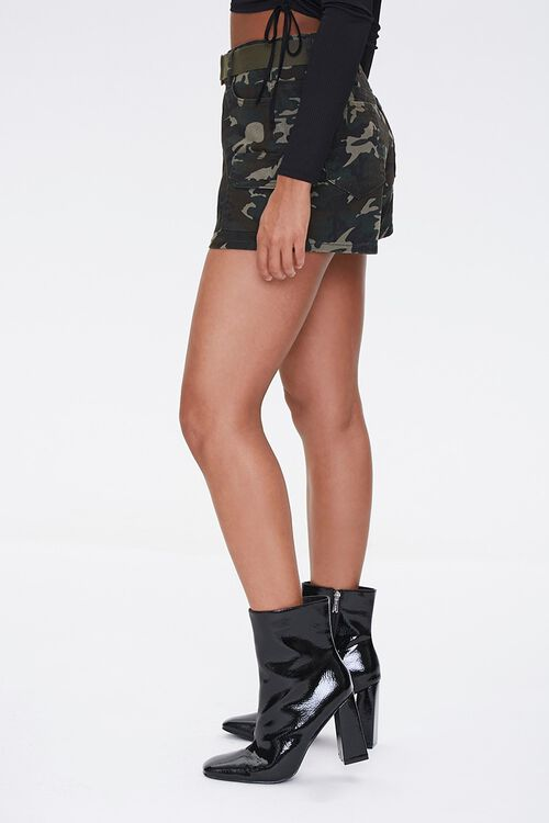 Belted Camo Print Shorts, image 2