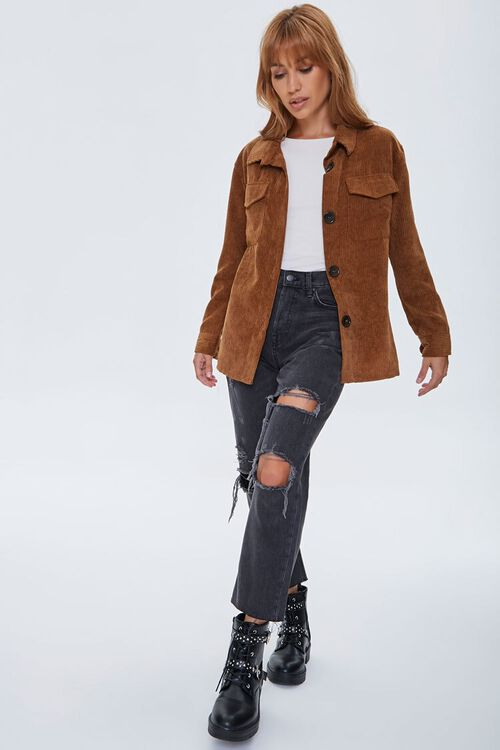 Corduroy Button-Front Shacket, image 4