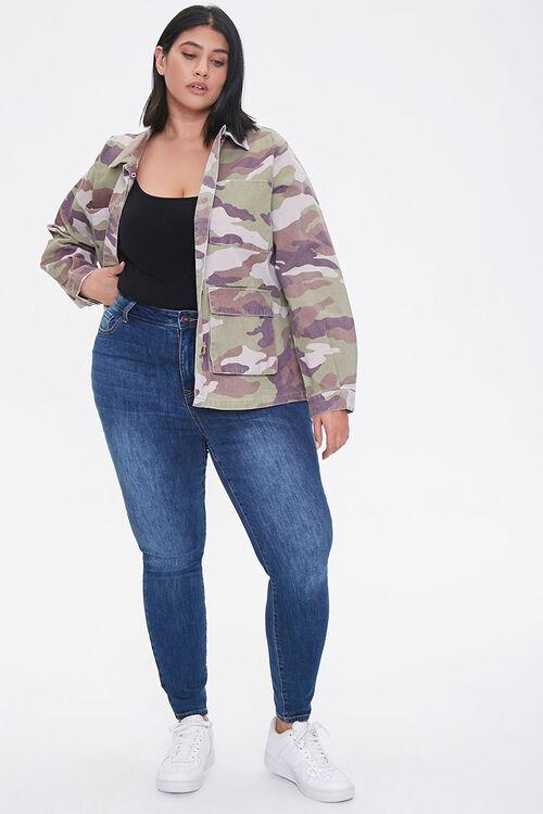 Plus Size Camo Print Twill Jacket, image 4