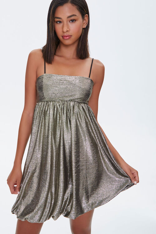Metallic Fit & Flare Dress, image 1