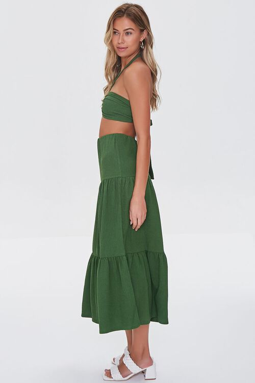 GREEN Crop Top & Tiered Midi Skirt Set, image 2