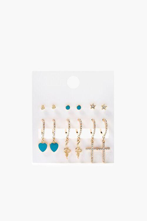 Faux Turquoise Hoop & Stud Earring Set, image 1