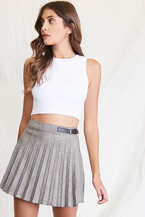 BLACK/MULTI Pleated Plaid Mini Skirt, image 1