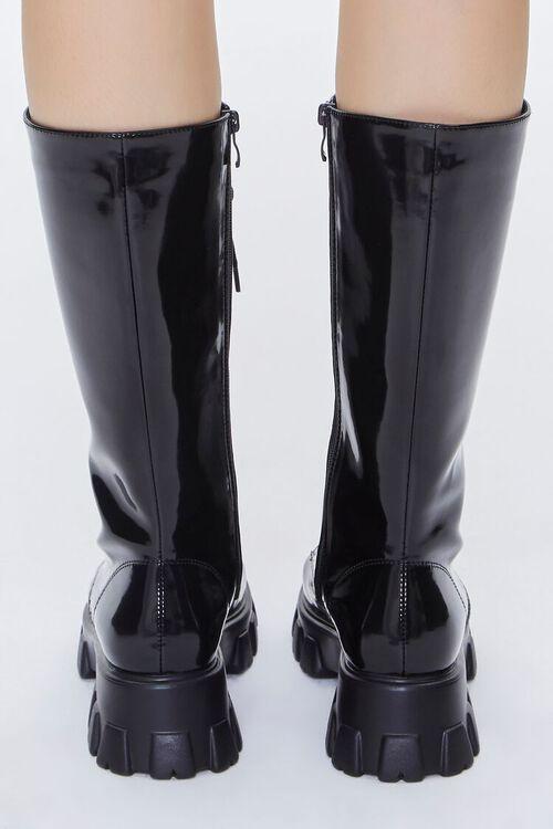 BLACK Faux Patent Leather Boots, image 3
