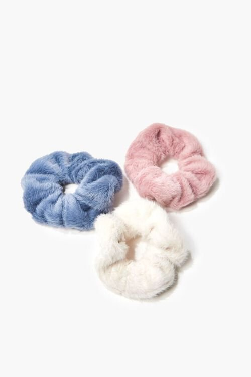 PINK/BLUE Faux Fur Hair Scrunchie Set - 3 pack, image 1