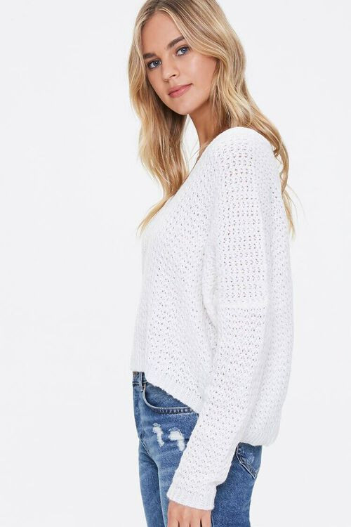 Open-Knit Dropped-Sleeve Sweater, image 2
