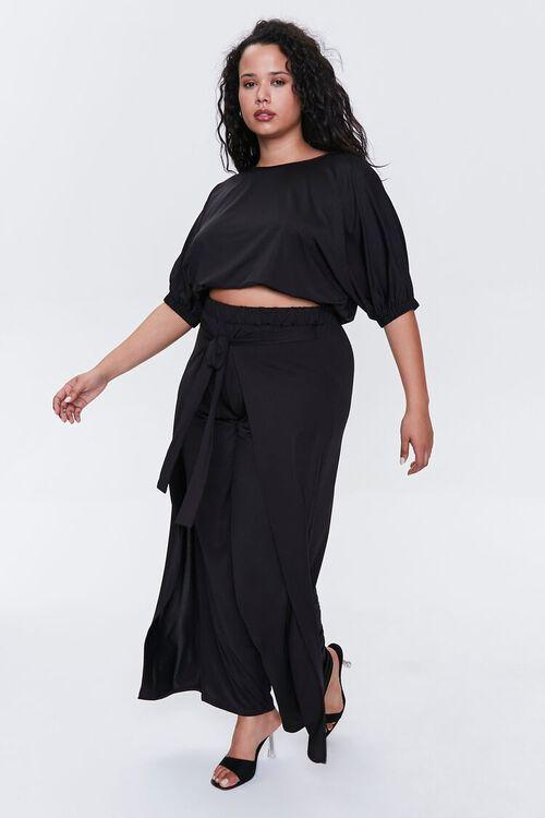 BLACK Plus Size Crop Top & Pants Set, image 1
