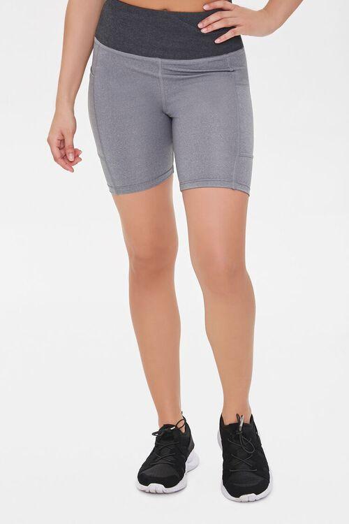 Active Heathered Pocket Biker Shorts, image 2