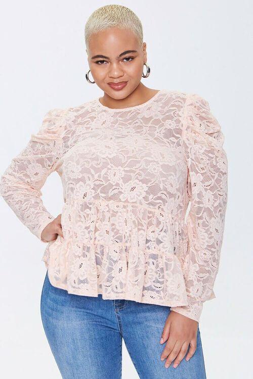 Plus Size Lace Flounce Top, image 1