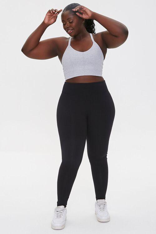 HEATHER GREY Plus Size Heathered Sports Bra, image 4
