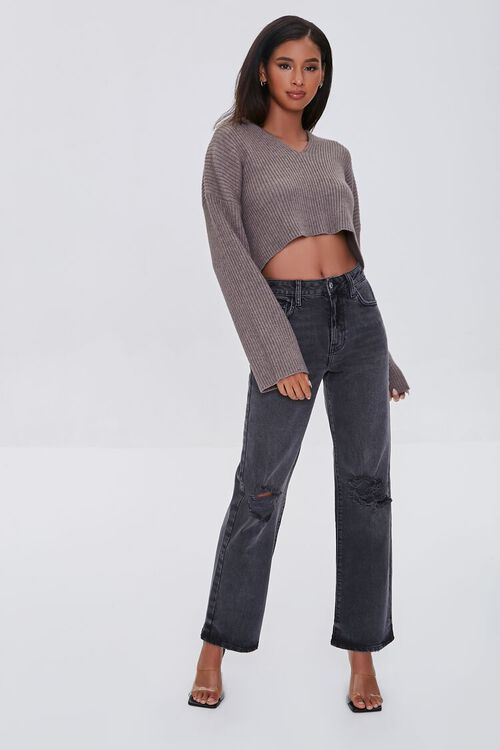 Cropped Ribbed Hooded Sweater, image 4
