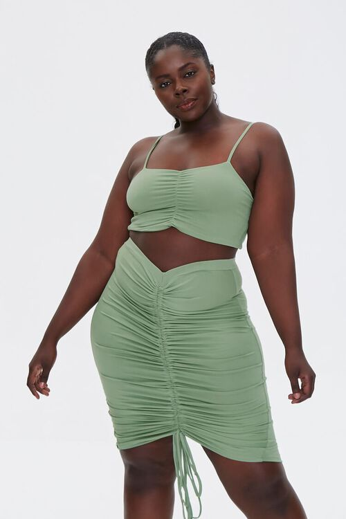 Plus Size Ruched Cami & Skirt Set, image 1