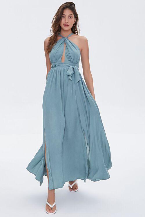 Keyhole Halter Maxi Dress, image 1