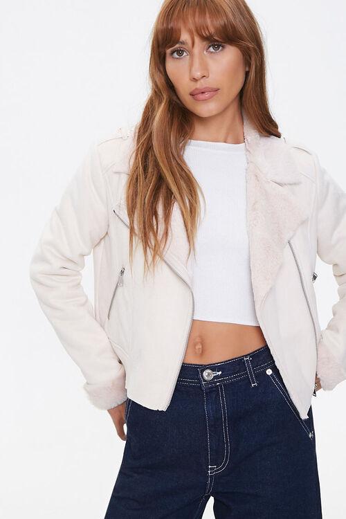 Faux Fur-Trim Moto Jacket, image 1
