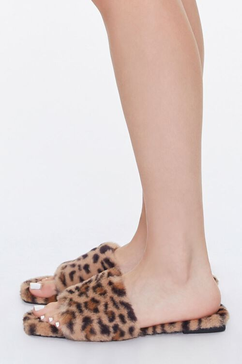 Faux Fur Leopard Print Slippers, image 2
