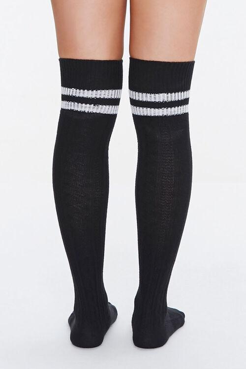 BLACK/WHITE Over-the-Knee Striped Socks, image 3