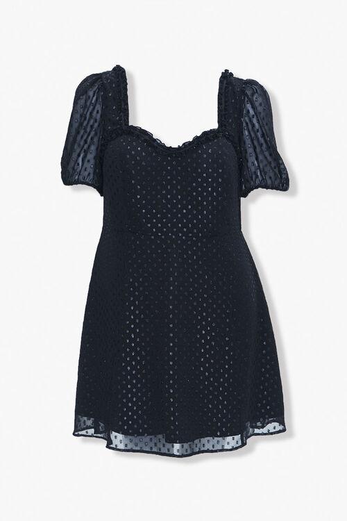 BLACK Plus Size Polka Dot Sweetheart Dress, image 1