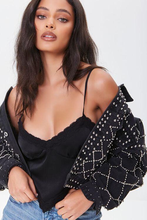 BLACK Crochet-Trim Handkerchief Top, image 1