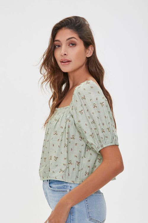 Floral Print Puff-Sleeve Top, image 2