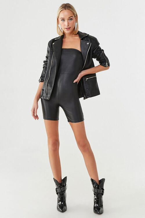 Faux Leather Tube Romper, image 4