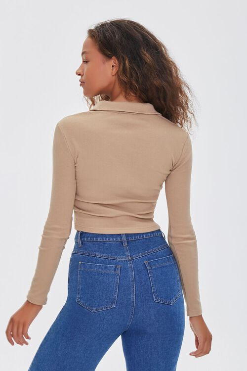 TAN Collared Long Sleeve Top, image 3