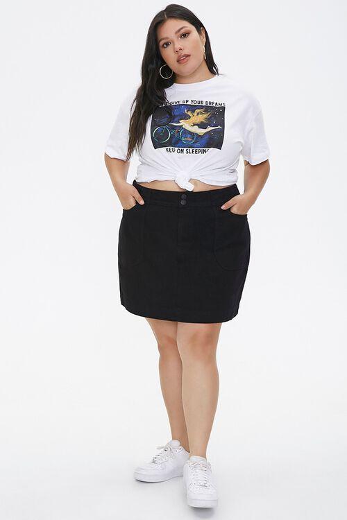 BLACK Plus Size Denim Mini Skirt, image 5