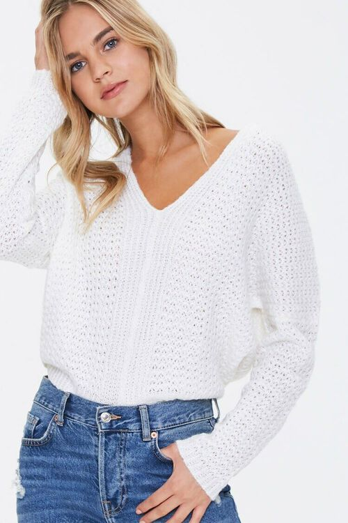 Open-Knit Dropped-Sleeve Sweater, image 1