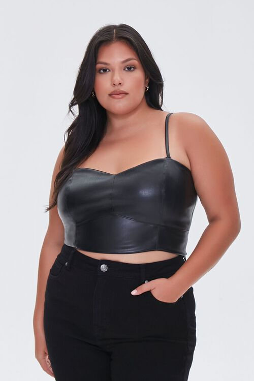 BLACK Plus Size Faux Leather Cropped Cami, image 5
