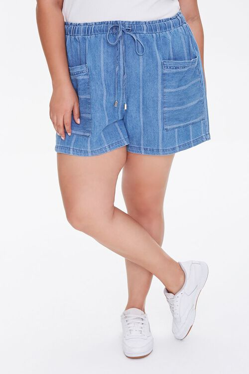 Plus Size Striped Denim Shorts, image 2
