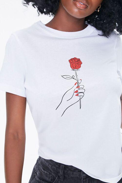Rhinestone Rose Graphic Tee, image 1