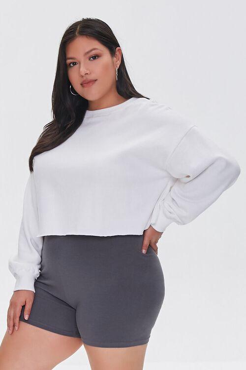 DARK GREY Plus Size Basic Organically Grown Cotton Hot Shorts, image 1