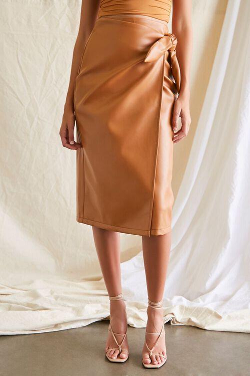 Faux Leather Midi Skirt, image 2