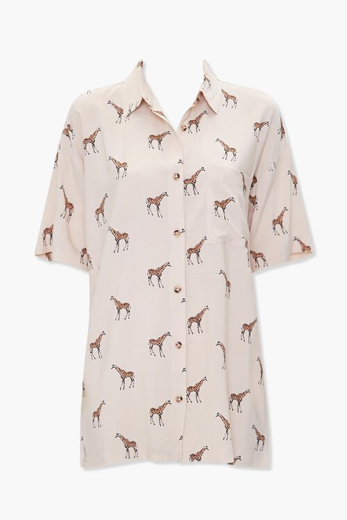 TAUPE/MULTI Giraffe Print Pocket Shirt, image 1