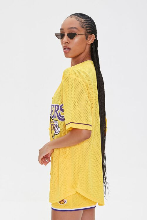 Lakers Graphic Buttoned Mesh Top, image 2
