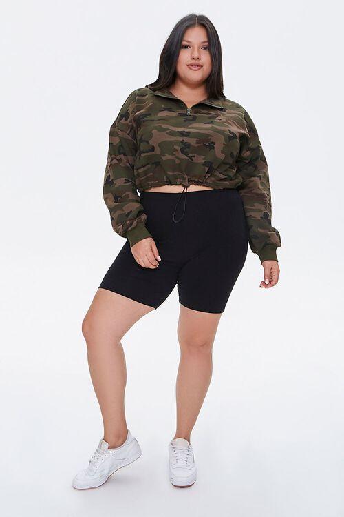 Plus Size Camo Print Semi-Cropped Pullover, image 4