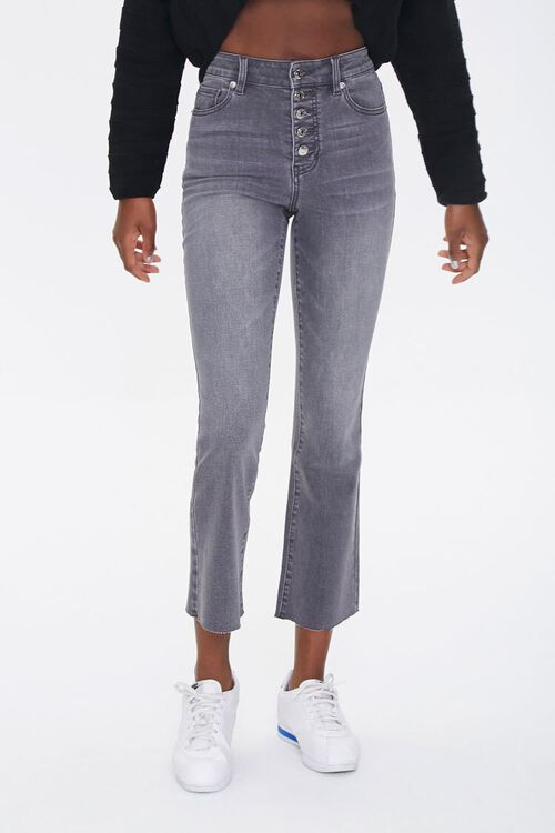 GREY High-Rise Flare Ankle Jeans, image 2