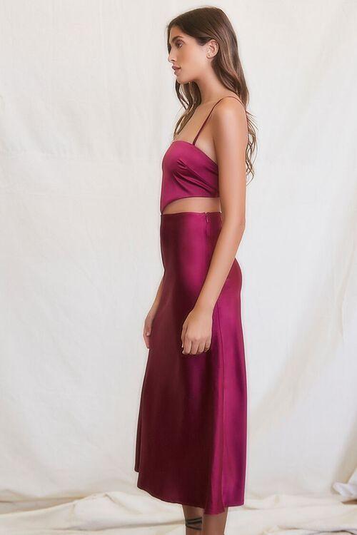 PLUM Cutout Satin Midi Dress, image 2
