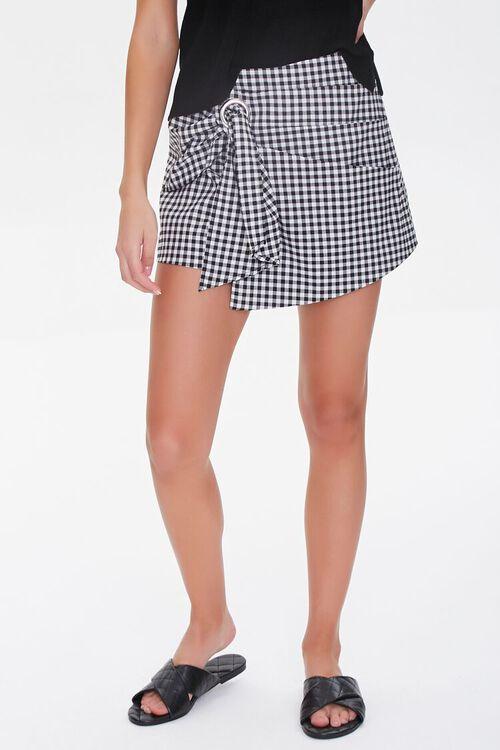 Checkered Tie-Waist Skort, image 2